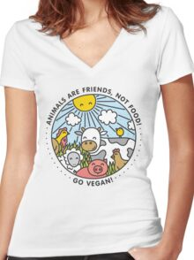 Animals are friends, not food. Go vegan!  Women's Fitted V-Neck T-Shirt