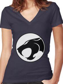 ThunderCats Monochrome Women's Fitted V-Neck T-Shirt