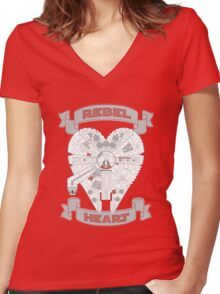 Rebel Heart - red Women's Fitted V-Neck T-Shirt