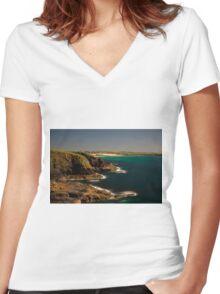 Trevose Head/Constantine Bay, Cornwall, UK ~ Atlantic Coast Women's Fitted V-Neck T-Shirt