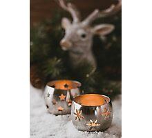 Burning candle lanterns. Christmas mood Photographic Print
