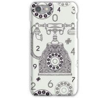 Seamless pattern with vintage phone and numbers. iPhone Case/Skin