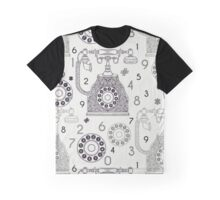 Seamless pattern with vintage phone and numbers. Graphic T-Shirt