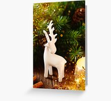 White deer Christmas decoration Greeting Card