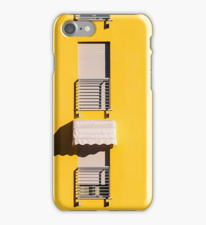 Window with sunshade on a yellow wall iPhone Case/Skin