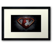 """The Letter E in the Style of """"Man of Steel"""" Framed Print"""