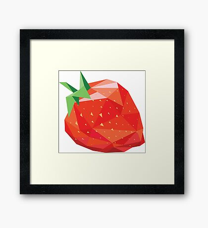 Strawberry Low-poly  Framed Print