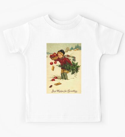 CHRISTMAS; Vintage Country Scene Print Kids Tee
