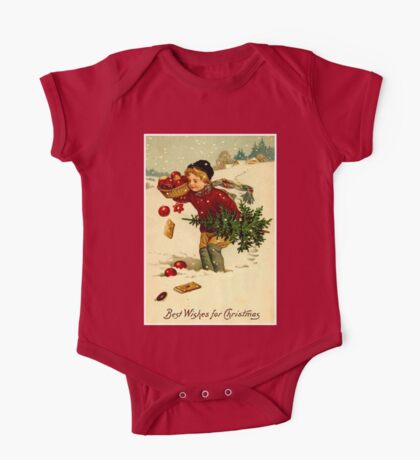CHRISTMAS; Vintage Country Scene Print One Piece - Short Sleeve