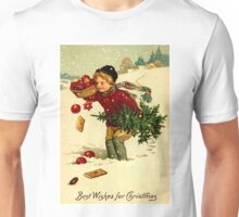 CHRISTMAS; Vintage Country Scene Print Unisex T-Shirt