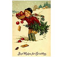 CHRISTMAS; Vintage Country Scene Print Photographic Print