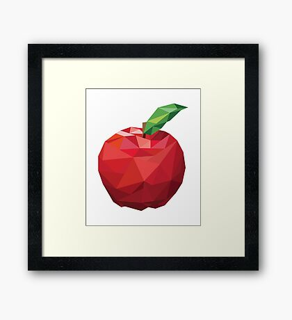 Apple Low-poly  Framed Print