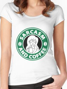 Sarcasm and Coffee Women's Fitted Scoop T-Shirt