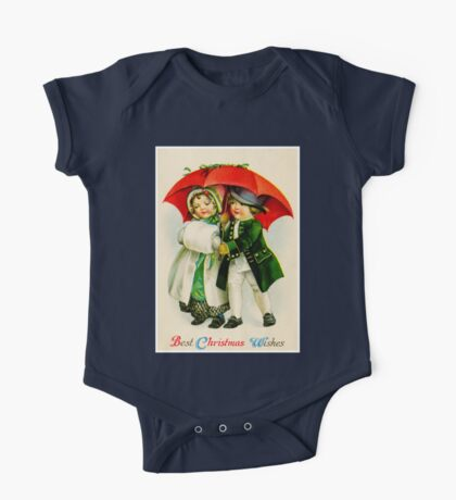 CHRISTMAS VINTAGE; Young Couple Walking Print One Piece - Short Sleeve