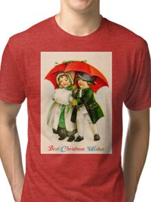 CHRISTMAS VINTAGE; Young Couple Walking Print Tri-blend T-Shirt