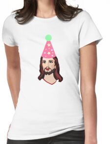 Happy Birthday Jesus Funny Christmas Shirt Womens Fitted T-Shirt