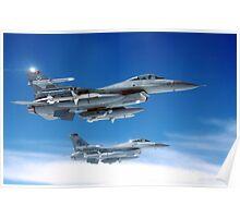 Flight of F-16 Falcons Poster