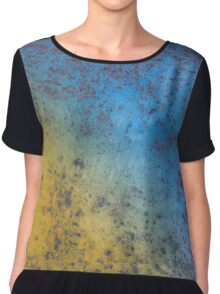 Blue Yellow Background - Rusty metal texture Chiffon Top
