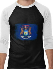 Michigan State Flag Distressed Vintage  Men's Baseball ¾ T-Shirt