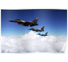 Three F-16 Fighting Falcons Poster