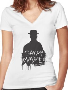 Say My Name - Heisenberg (Silhouette version) Women's Fitted V-Neck T-Shirt