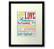 Love Joy Peace Patience Kindness Goodness Typography Art Framed Print