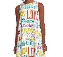 Love Joy Peace Patience Kindness Goodness Typography Art A-Line Dress