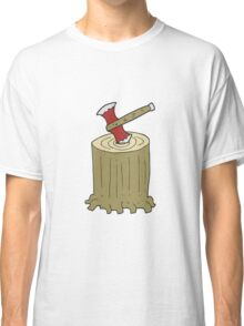 cartoon tree stump and axe Classic T-Shirt
