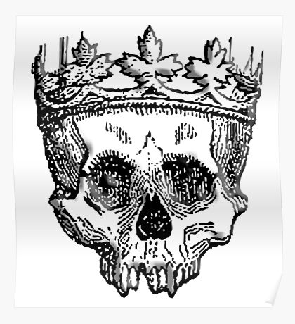 DEATH, King of the Dead, Skull, Crown, on WHITE Poster