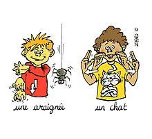 mug voyage araignée chat langue des signes Photographic Print
