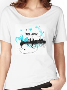 Art skyline of the Mediterranean Sea, Tel Aviv, Israel  Women's Relaxed Fit T-Shirt