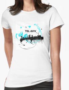Art skyline of the Mediterranean Sea, Tel Aviv, Israel  Womens Fitted T-Shirt