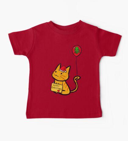 Merry Christmas Manga Cat wth red balloon, hand drawn Baby Tee