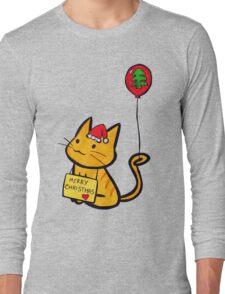 Merry Christmas Manga Cat wth red balloon, hand drawn Long Sleeve T-Shirt