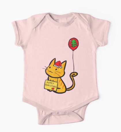 Merry Christmas Manga Cat wth red balloon, hand drawn One Piece - Short Sleeve