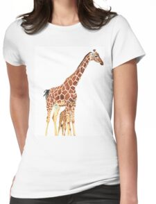 Giraffe Art - A Mother's Love - By Sharon Cummings Womens Fitted T-Shirt