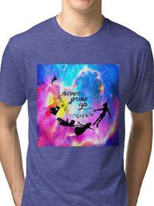 Never Grow U p Nebula Blue Tri-blend T-Shirt