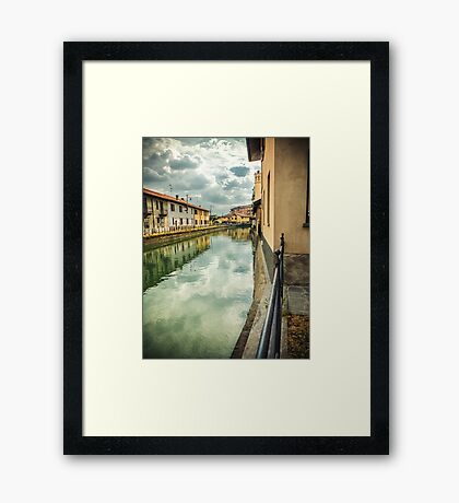 Italian canal with houses Framed Print