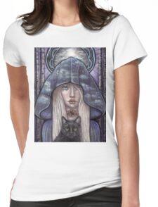 Nauthiz Rune Maiden black cat sorceress Womens Fitted T-Shirt