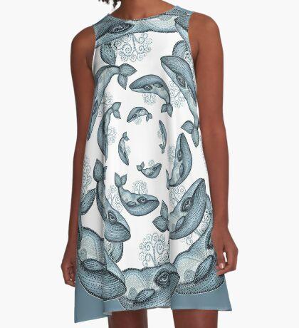 whale circle blue tribal pattern hand draw A-Line Dress