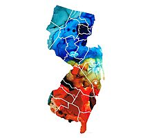New Jersey - State Map By Sharon Cummings Photographic Print