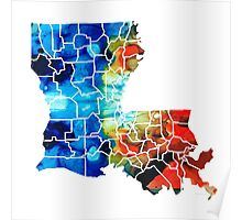 Louisiana Map - State Maps By Sharon Cummings Poster