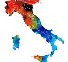 Italy - Italian Map By Sharon Cummings by Sharon Cummings