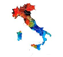 Italy - Italian Map By Sharon Cummings Photographic Print