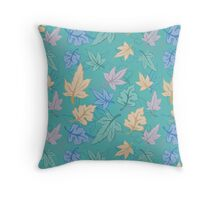 Green Pastel Fall Pattern Throw Pillow