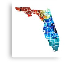 Florida - Map By Counties Sharon Cummings Art Canvas Print
