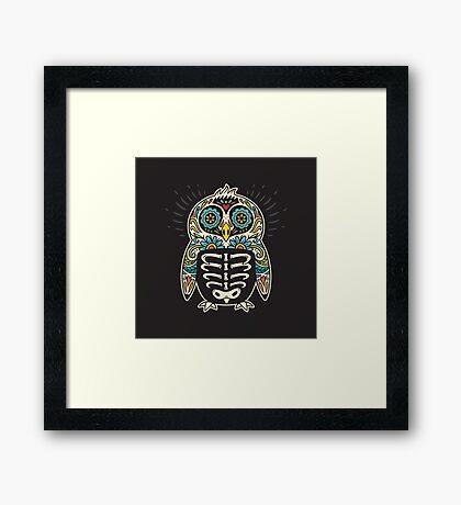 Sugar skull penguin  Framed Print