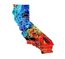 California - Map Counties By Sharon Cummings Photographic Print