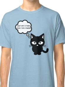 black cat kitty superstition animal pet cute for girls girly Classic T-Shirt