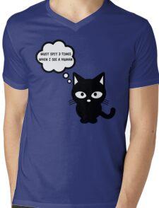 black cat kitty superstition animal pet cute for girls girly Mens V-Neck T-Shirt